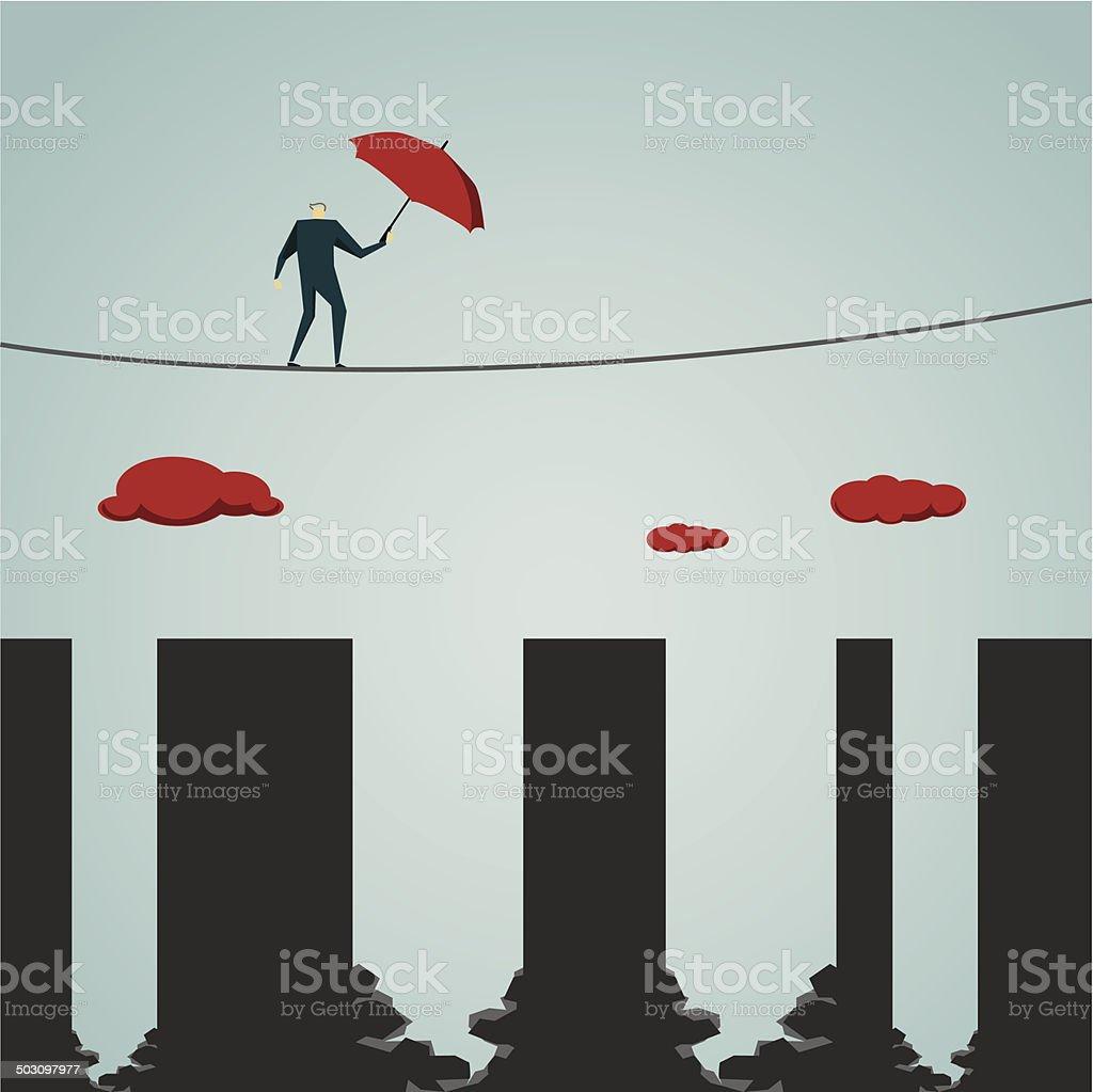 Tightrope vector art illustration