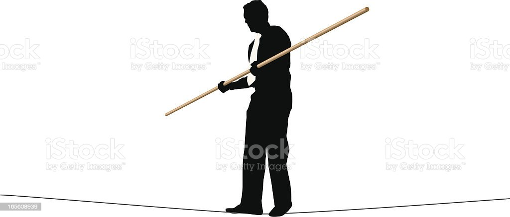 Tightrope Walker vector art illustration