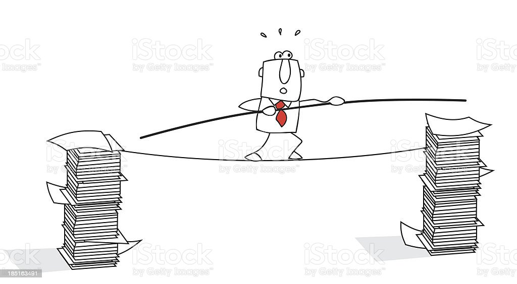 tightrope walker. vector art illustration