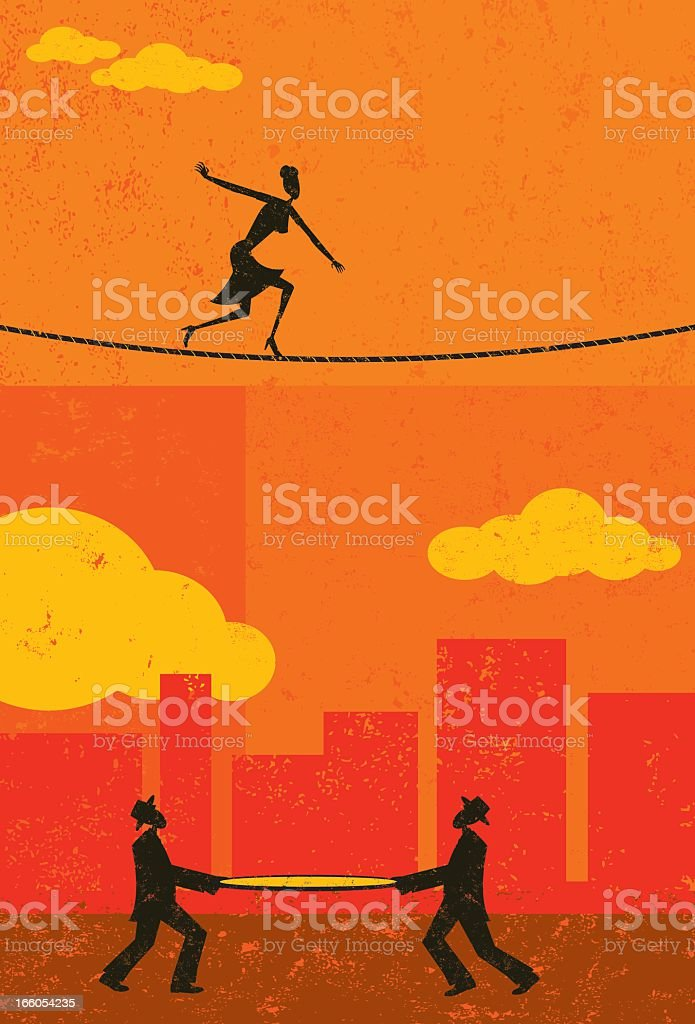 Tightrope walker with two men holding a safety net vector art illustration