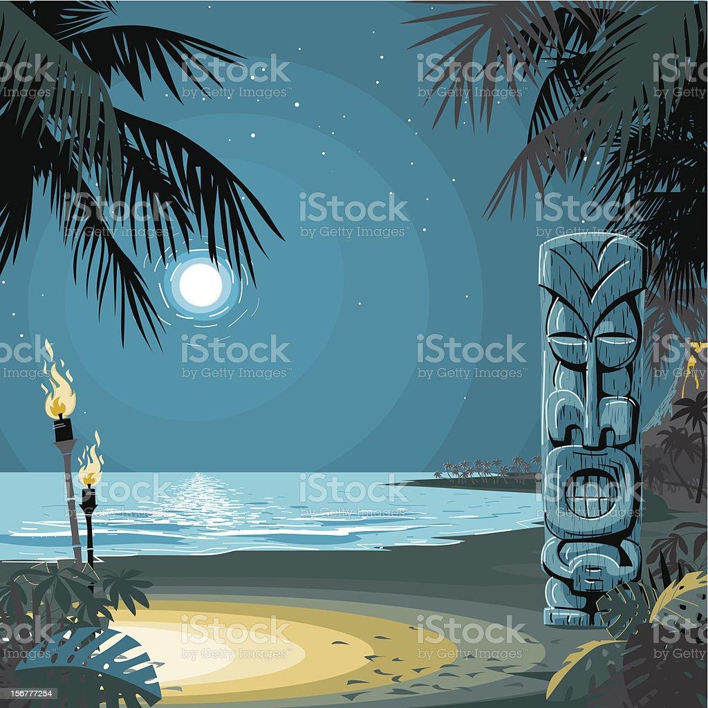 Tiki at the Beach vector art illustration