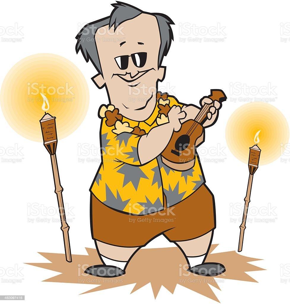Tiki Man Playing Ukulele royalty-free stock vector art
