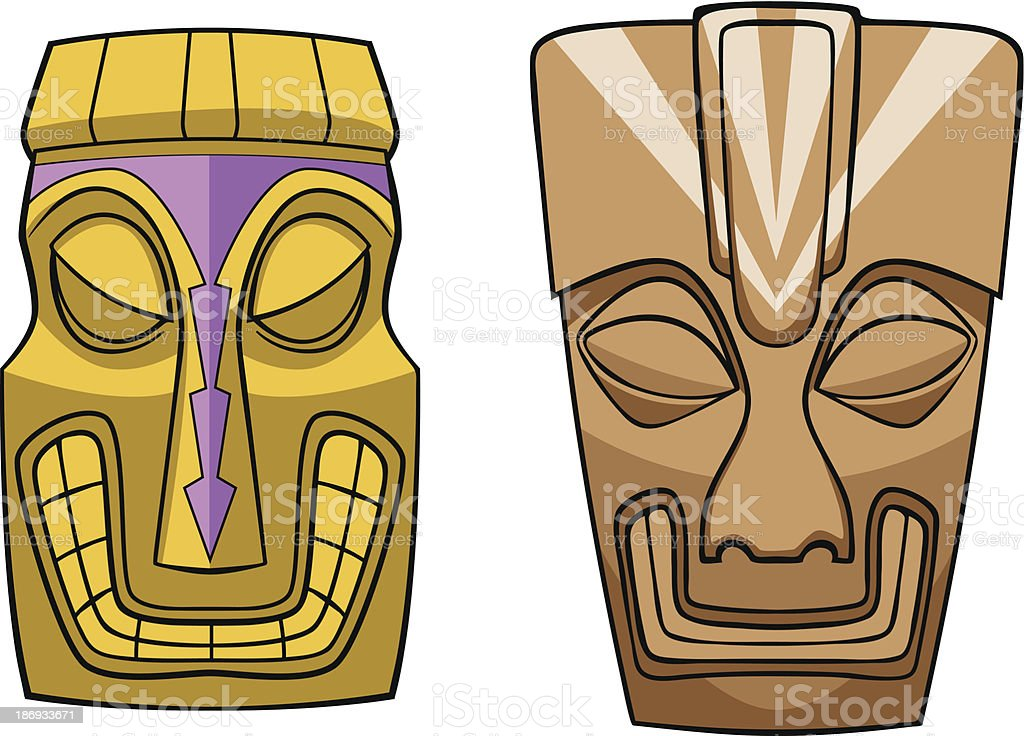 Tiki Masks Vector royalty-free stock vector art