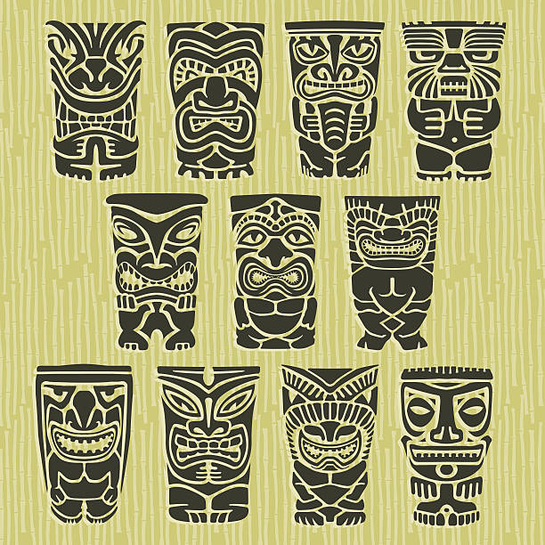 Tiki totem poles clip art vector images illustrations