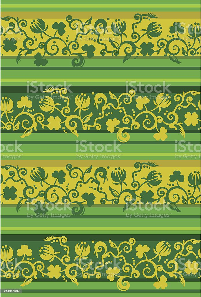 Tilable floral pattern with clover leaves and flowers vector art illustration