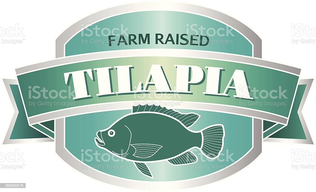 tilapia seafood label or sticker vector art illustration