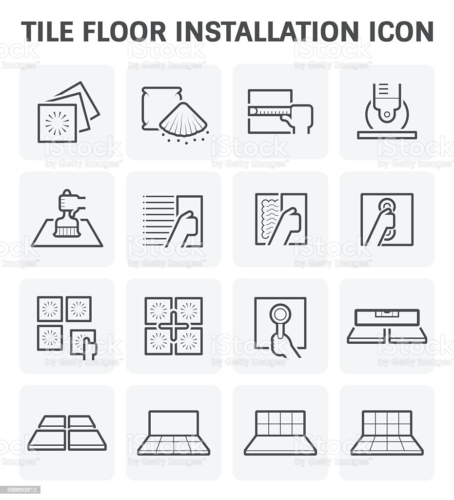 Tile floor icon vector art illustration