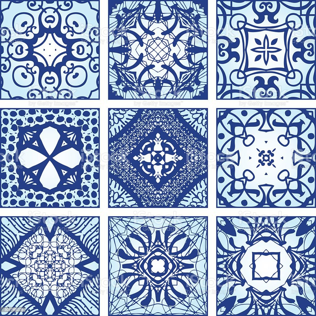 Tile patterns vector art illustration
