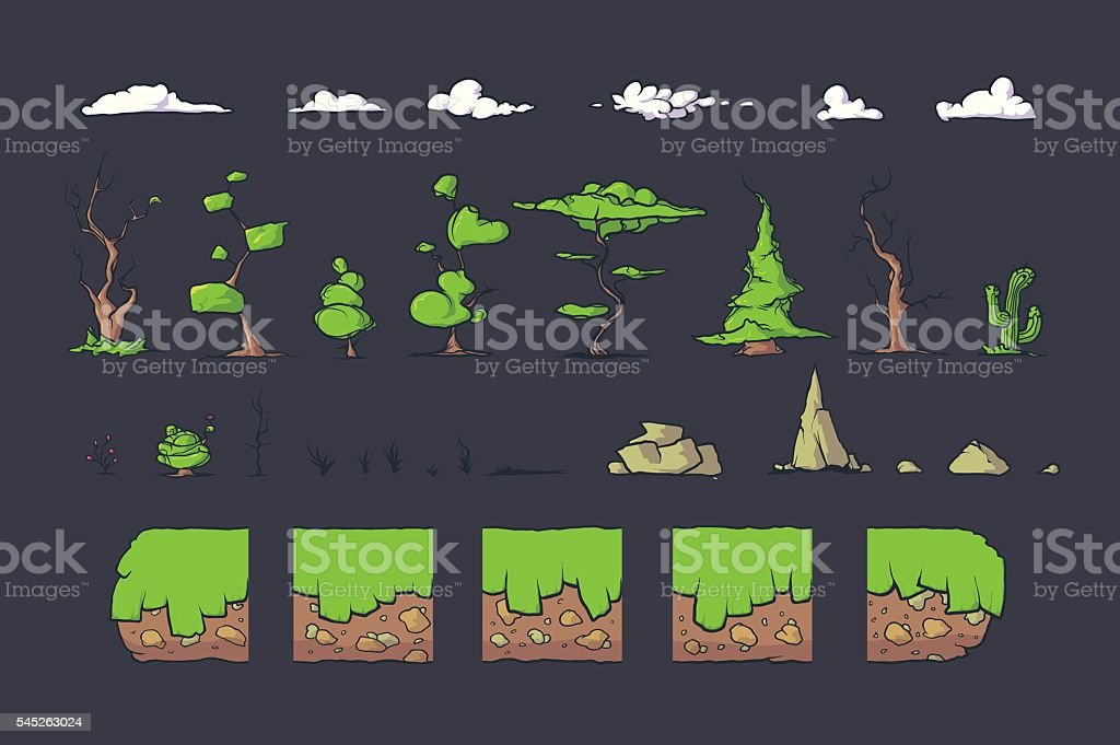 Tile set for Platformer Game, Seamless vector ground blocks games vector art illustration
