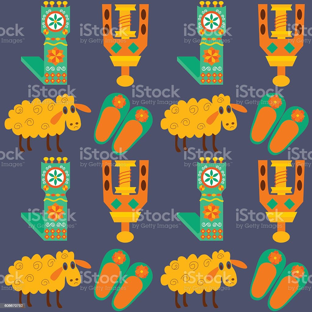 Tile texture with sheeps and wool products vector art illustration