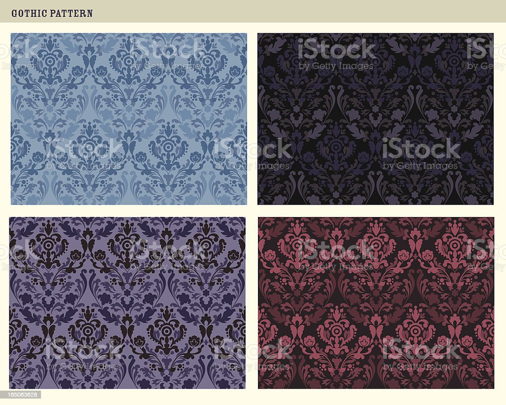 Tileable gothic patterns royalty-free stock vector art