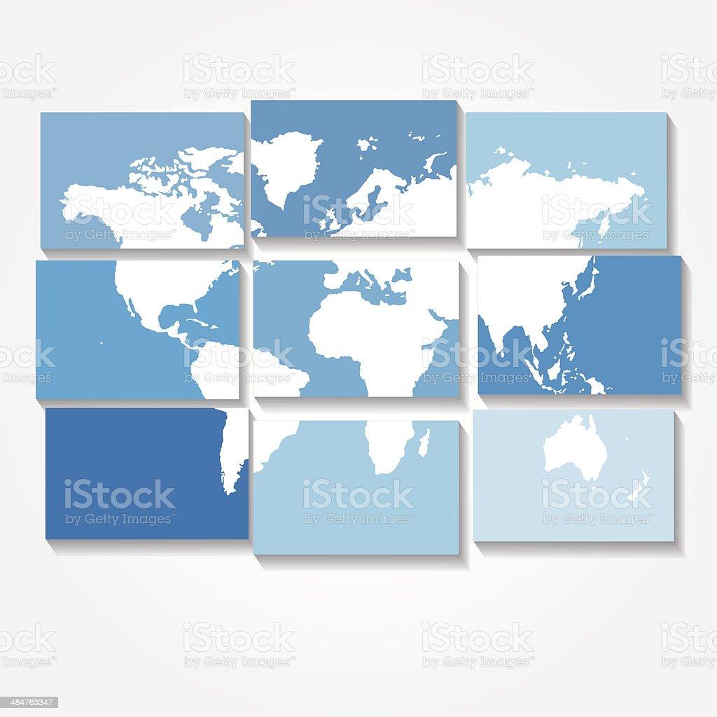 Mapa-múndi vector fundo azulejada vetor e ilustração royalty-free royalty-free