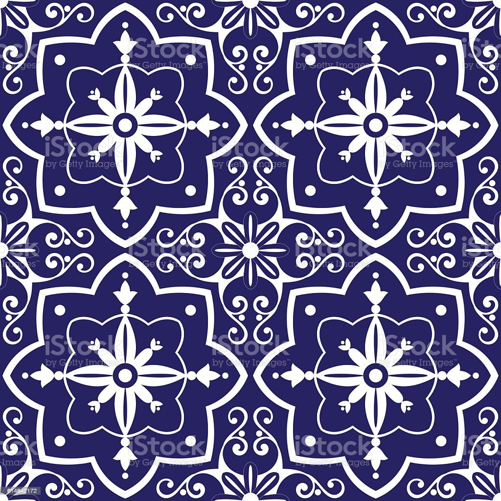 Tiles pattern vector with blue and white flowers ornaments vector art illustration