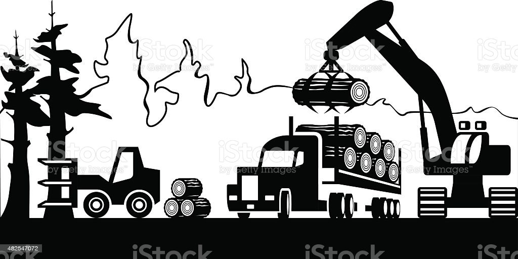Timber harvesting in the forest vector art illustration