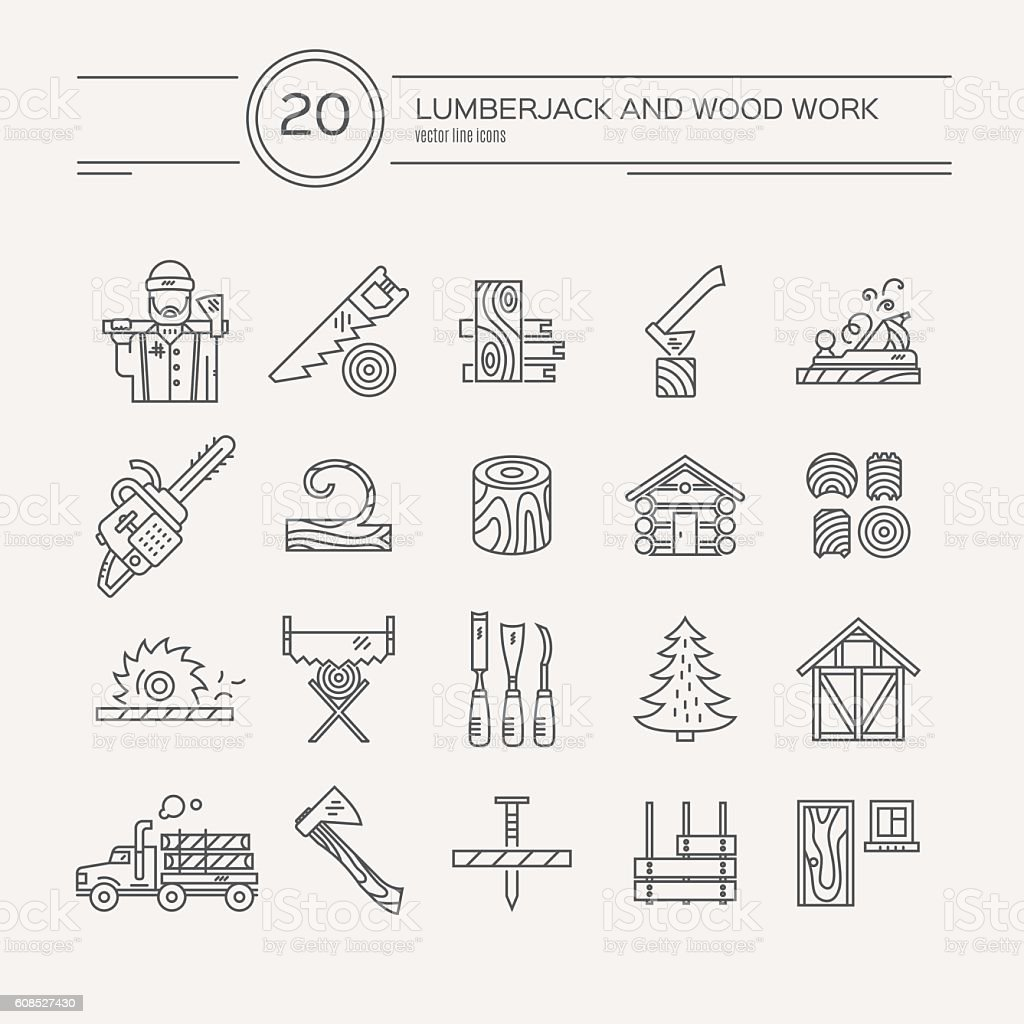 Timber Industry Icons vector art illustration