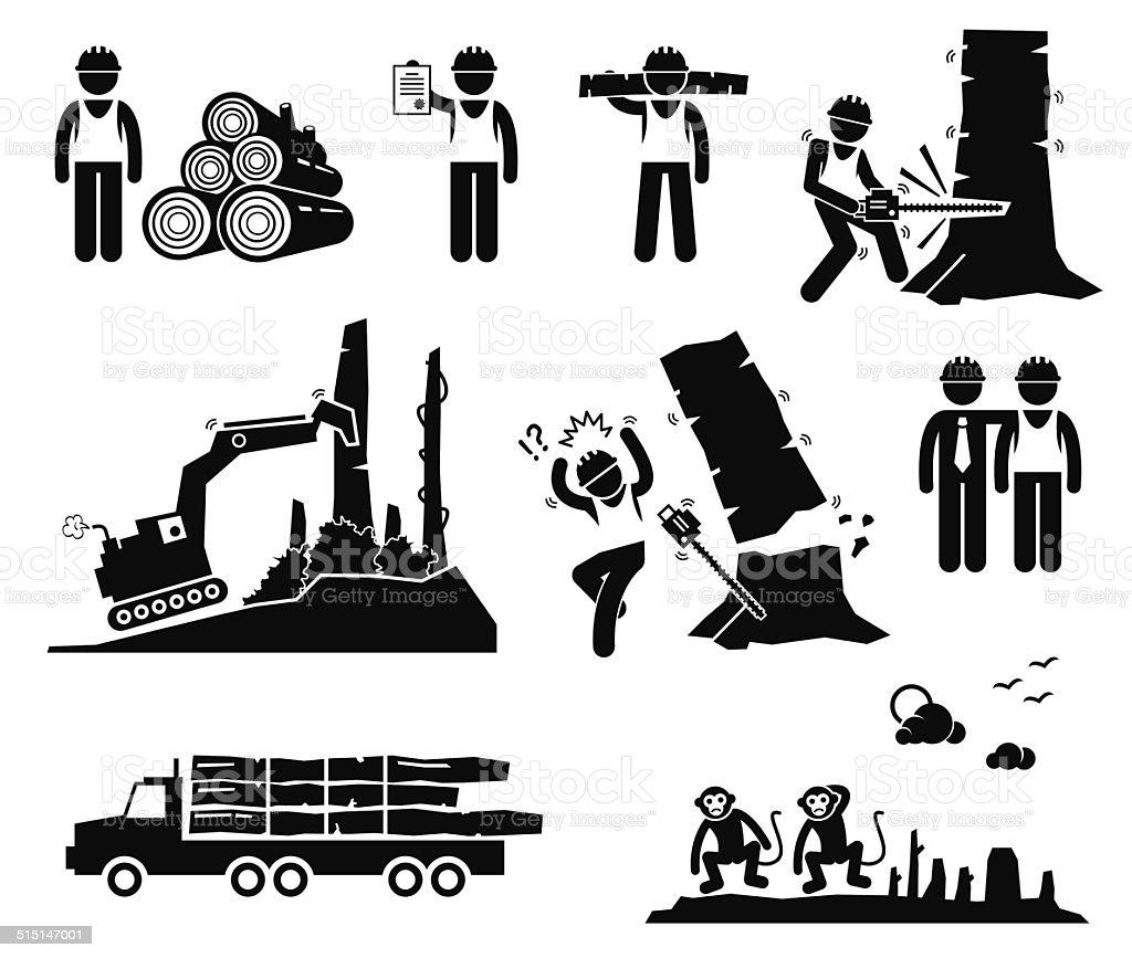 Timber Logging Worker Deforestation Stick Figure Pictogram Icons vector art illustration