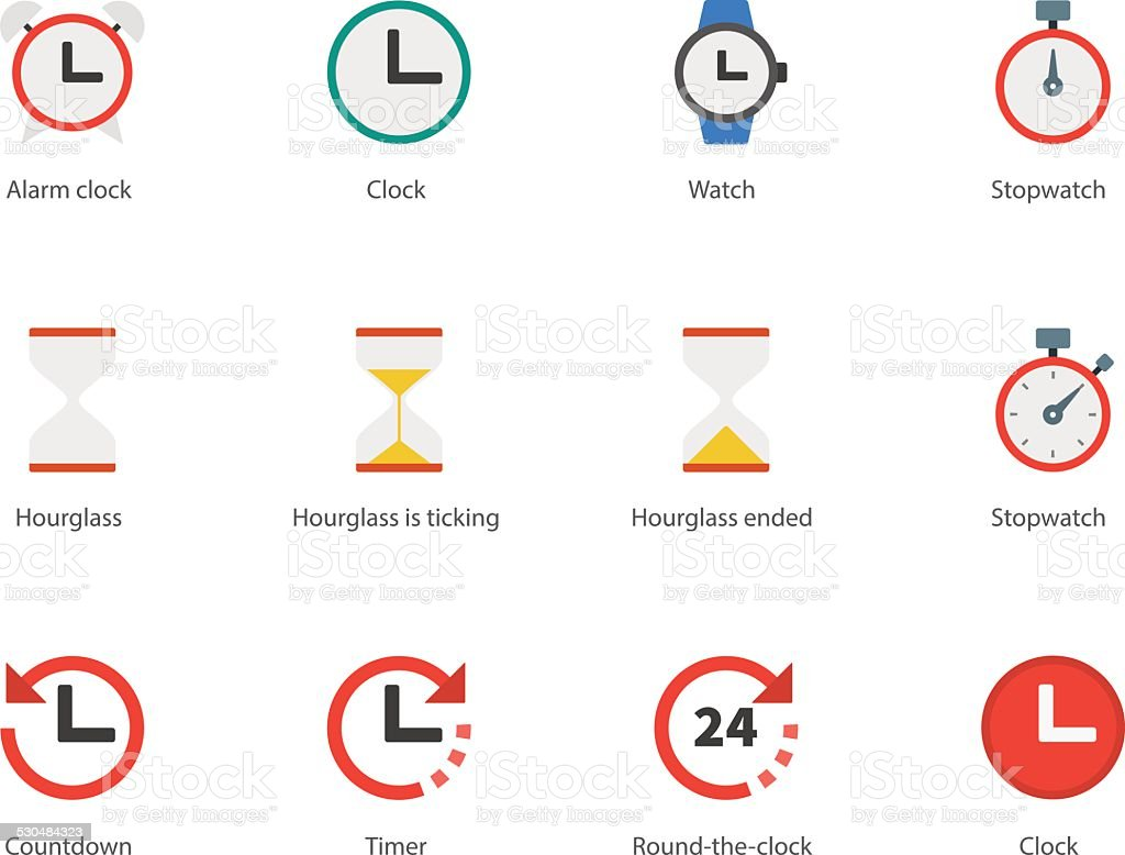 Time and Clock color icons on white background. vector art illustration