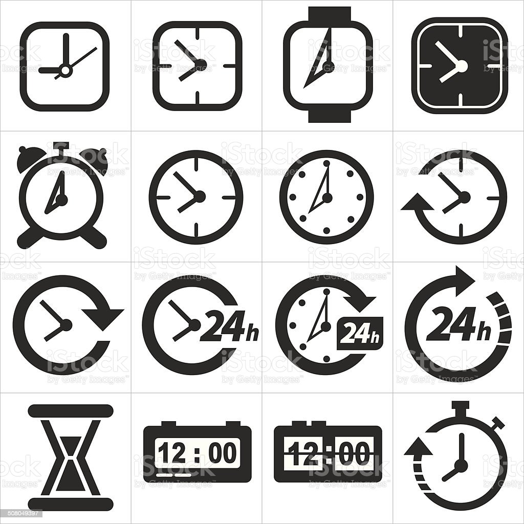 Time and clock icon set vector art illustration
