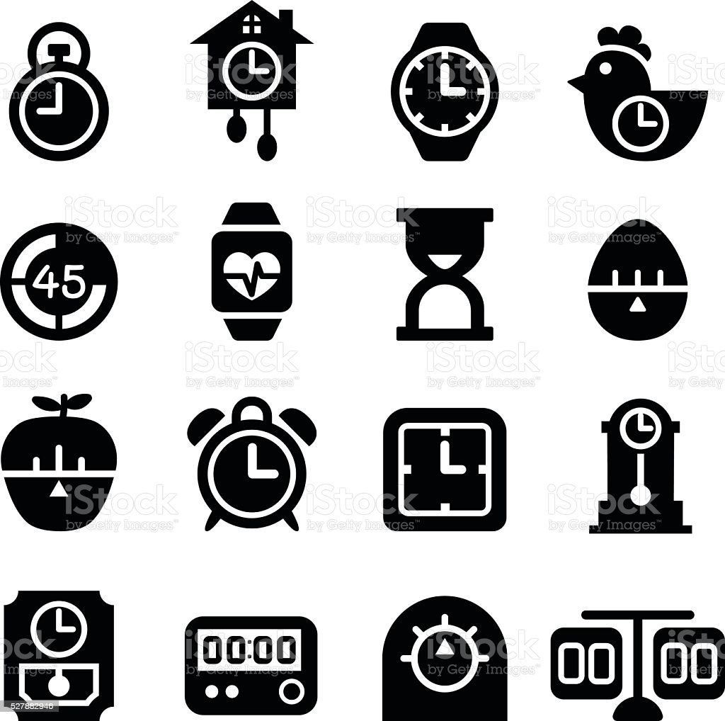 Time and Clock icon vector art illustration