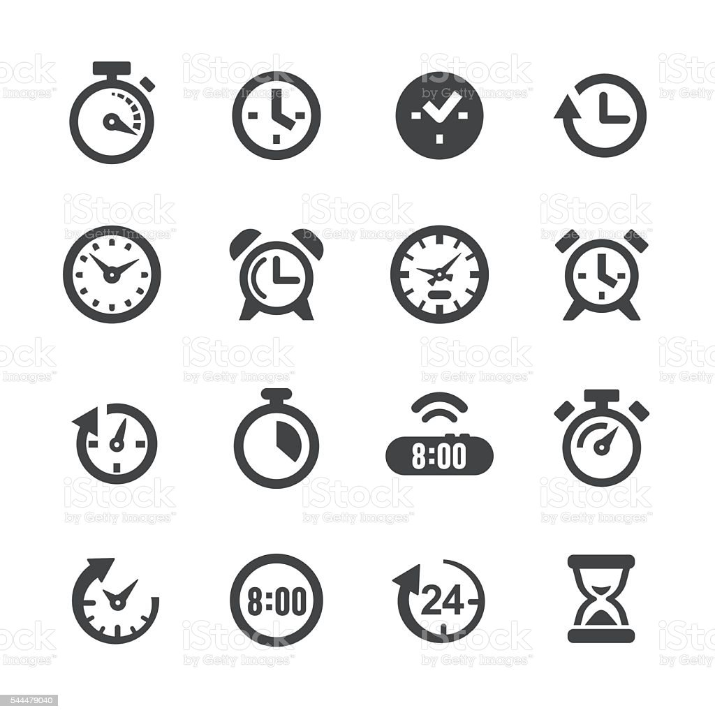 Time and Clock Icons - Acme Series vector art illustration
