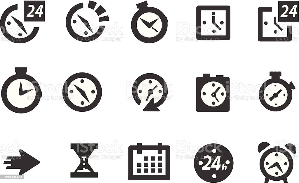 Time and Clock icons vector art illustration