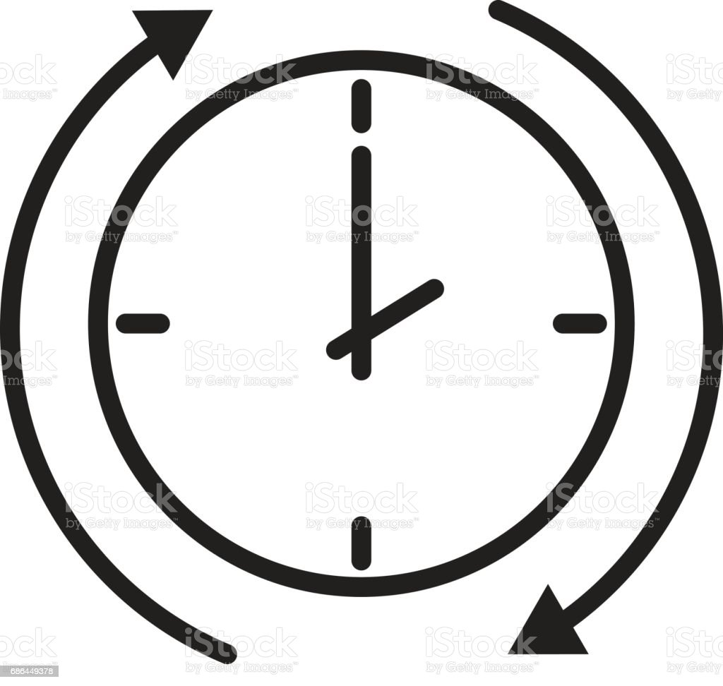 time arrow icon on white background. time arrow sign. vector art illustration