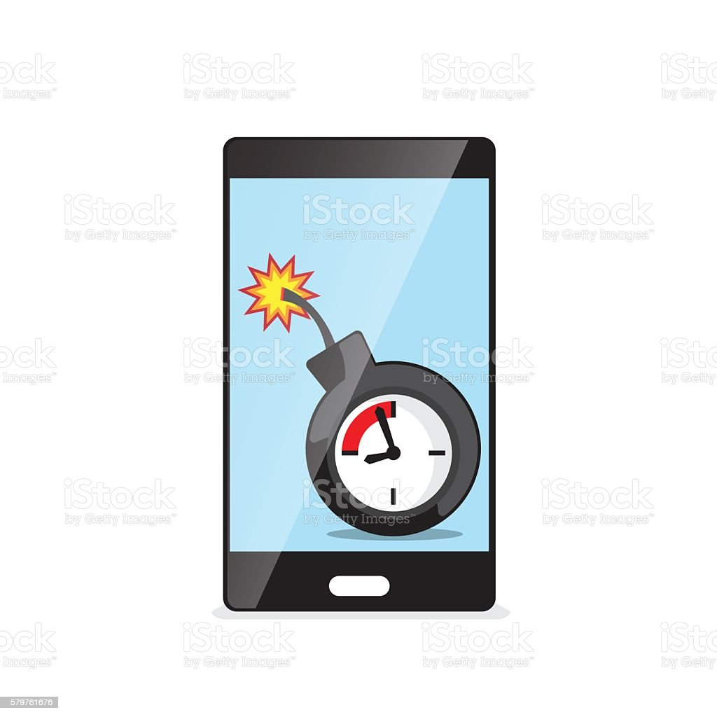 time bomb in smartphone vector art illustration