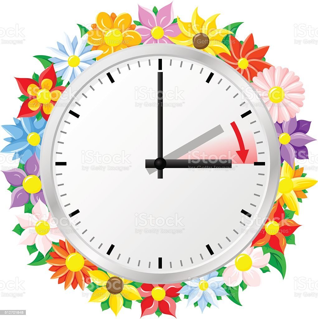 time change to daylight saving time vector art illustration