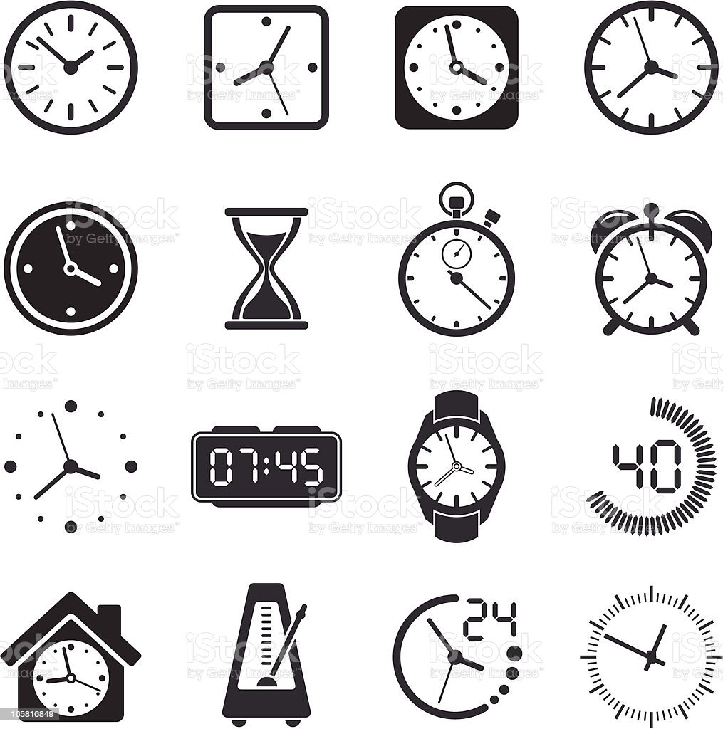 Time Clock Icon Set royalty-free stock vector art