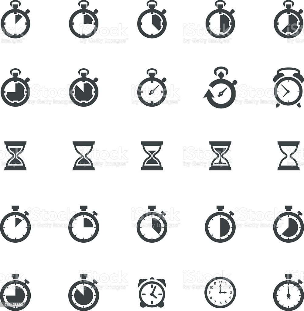 Time Clock Icon Set vector art illustration