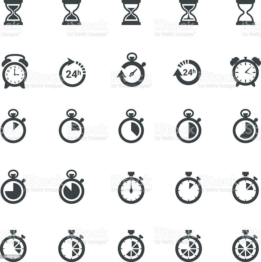 Time Clock Icon Set vector art illustration