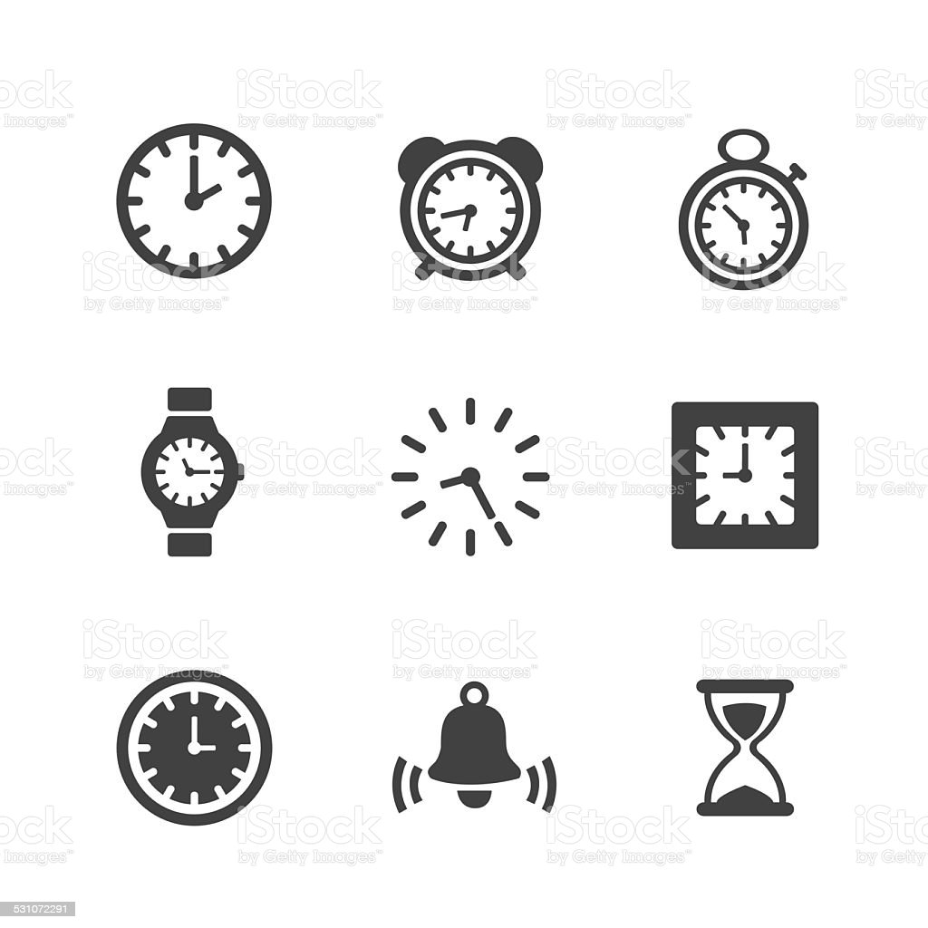 Time Clock Icons Set vector art illustration