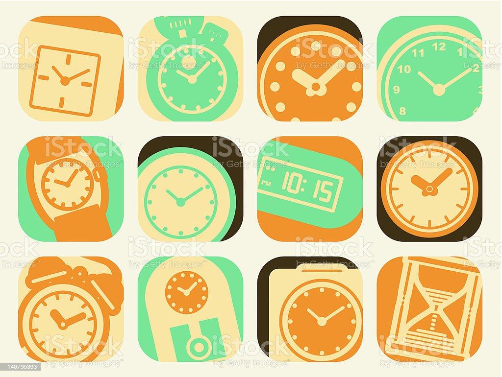 time clock set royalty-free stock vector art