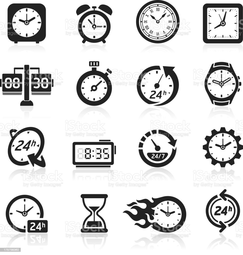 Time & clocks icons. vector art illustration