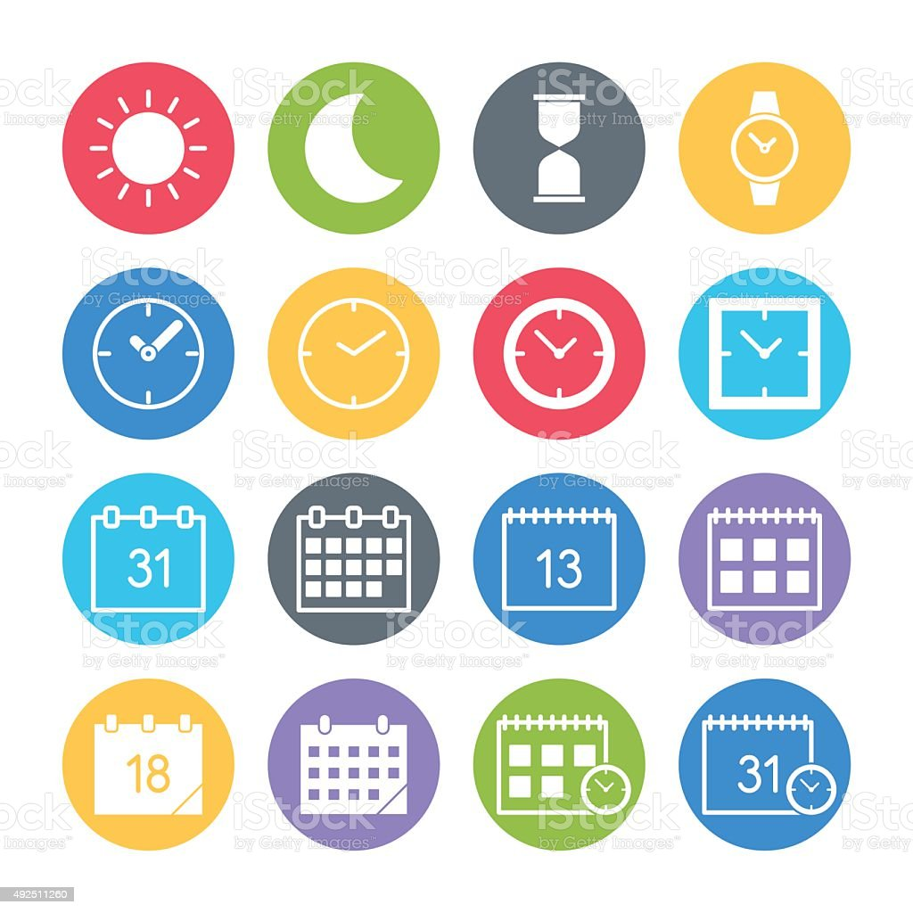 time date icons set vector art illustration