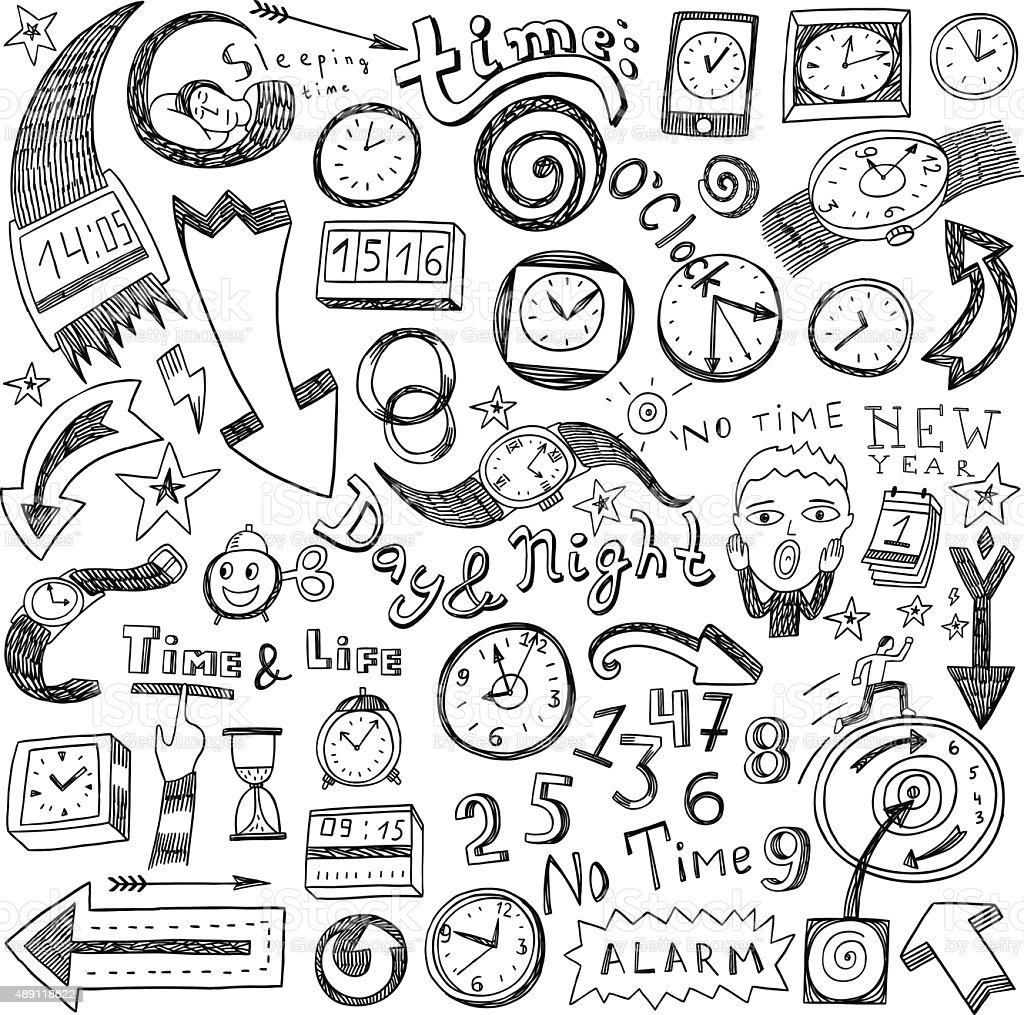 time doodles vector art illustration