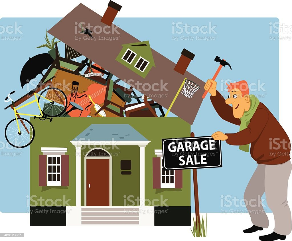 Time for a garage sale vector art illustration