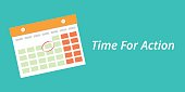 time for action concept with a calendar blue background