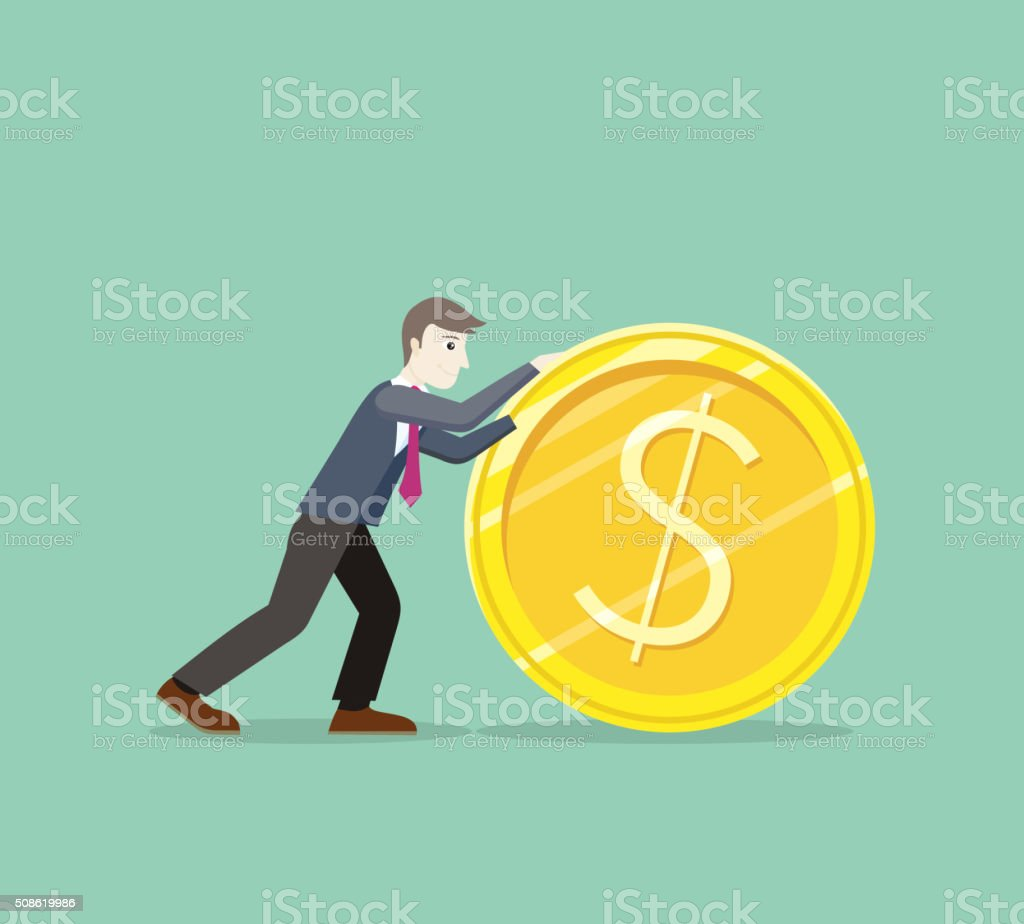 Time for Invest, Man With Gold Coin vector art illustration