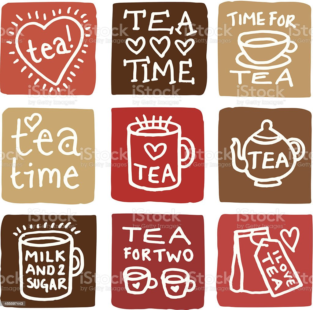 Time for tea icon set block icons royalty-free stock vector art