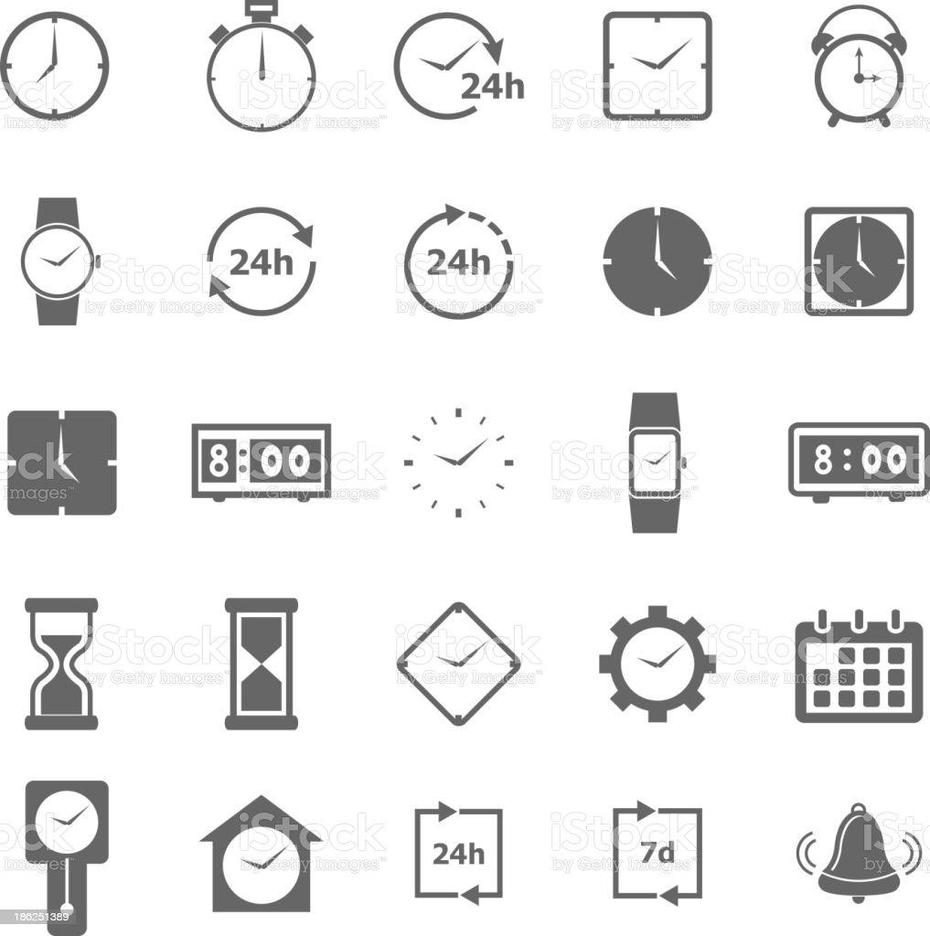 Time icons on white background vector art illustration