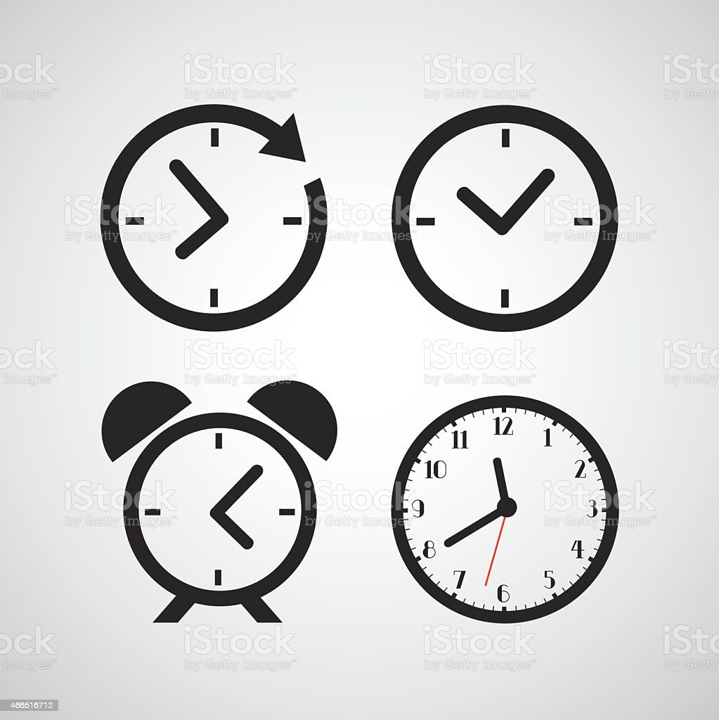 Time icons with different time periods in black vector art illustration