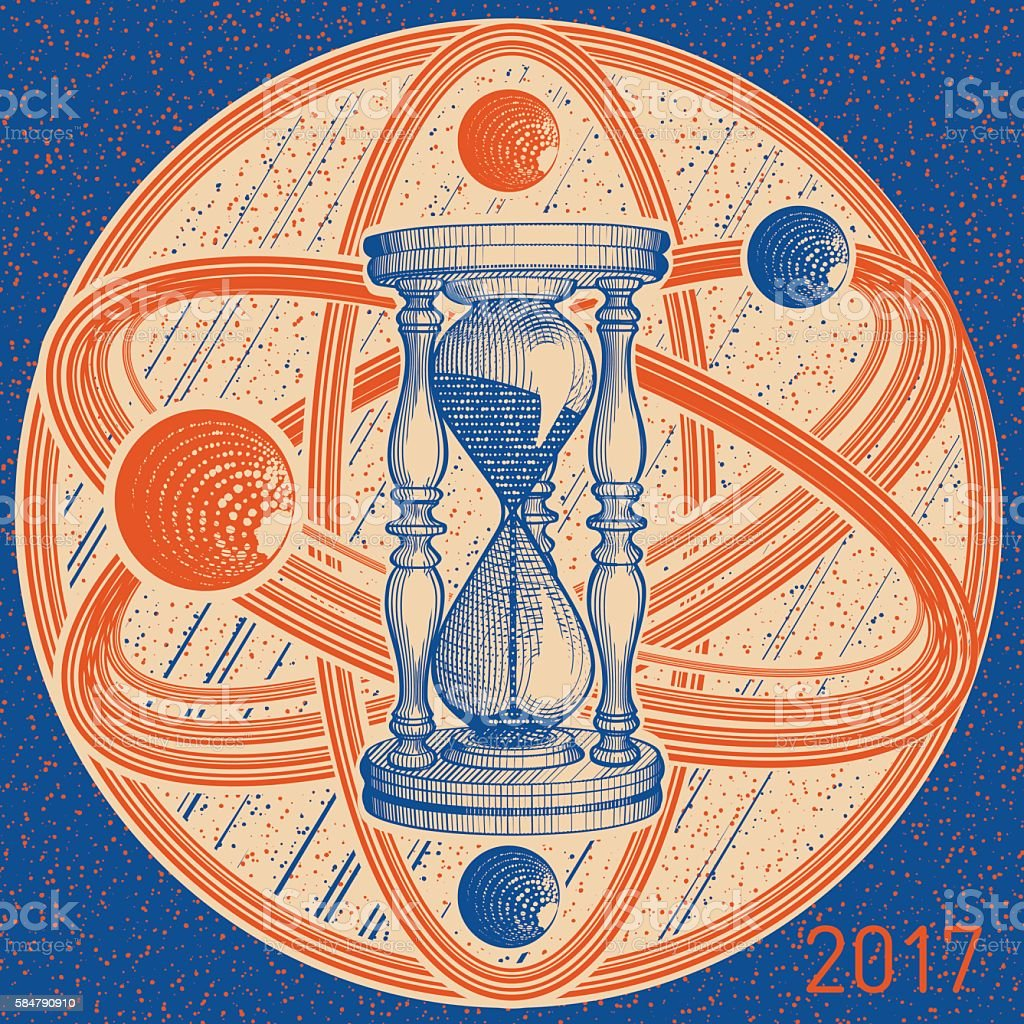 Time Infinity Calendar with Blue Sandglass vector art illustration