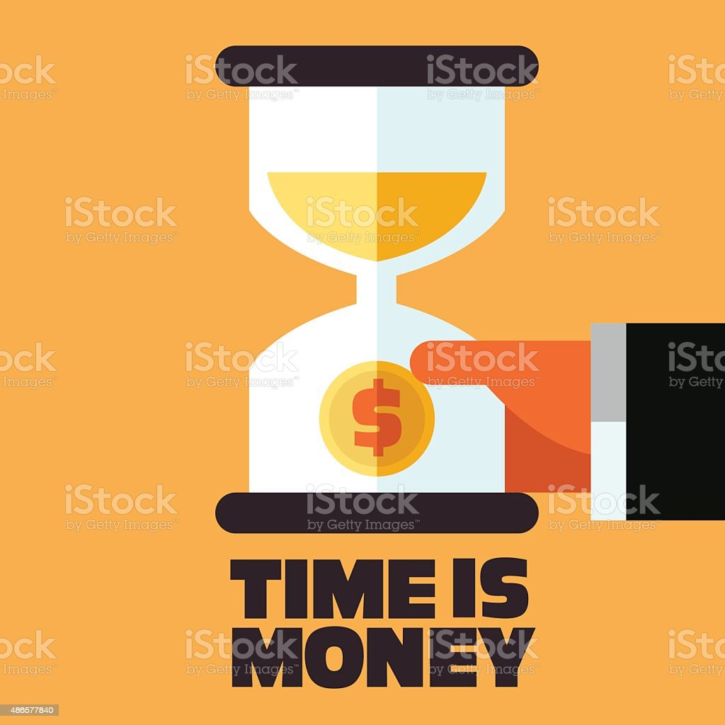 Time is money and money saving concept. Businessman with hourglass vector art illustration