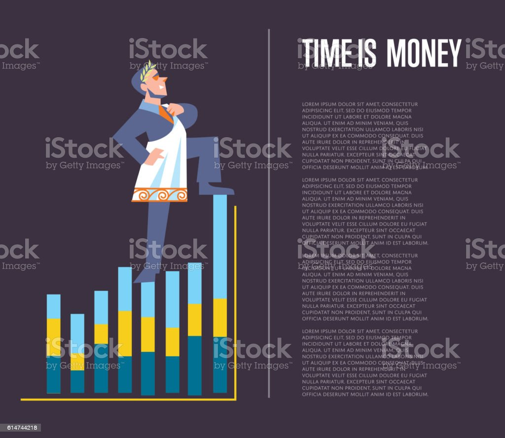 Time is money banner with businessman vector art illustration