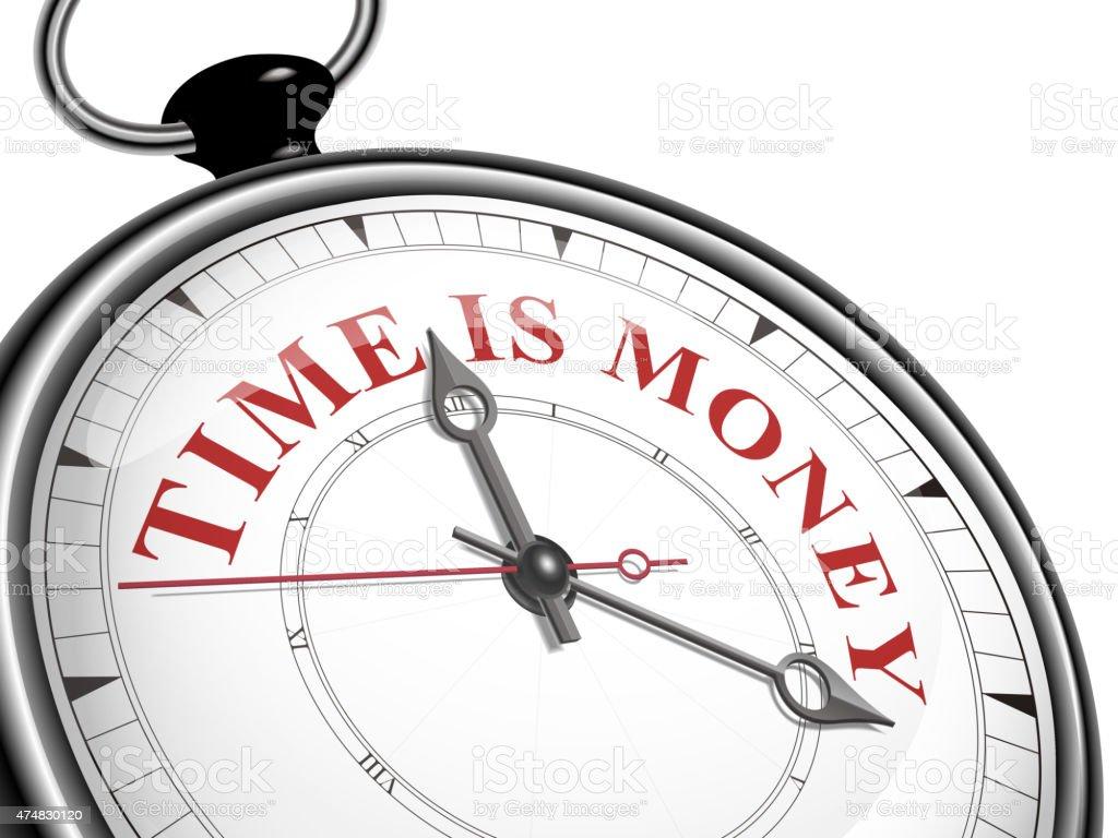 time is money concept clock vector art illustration