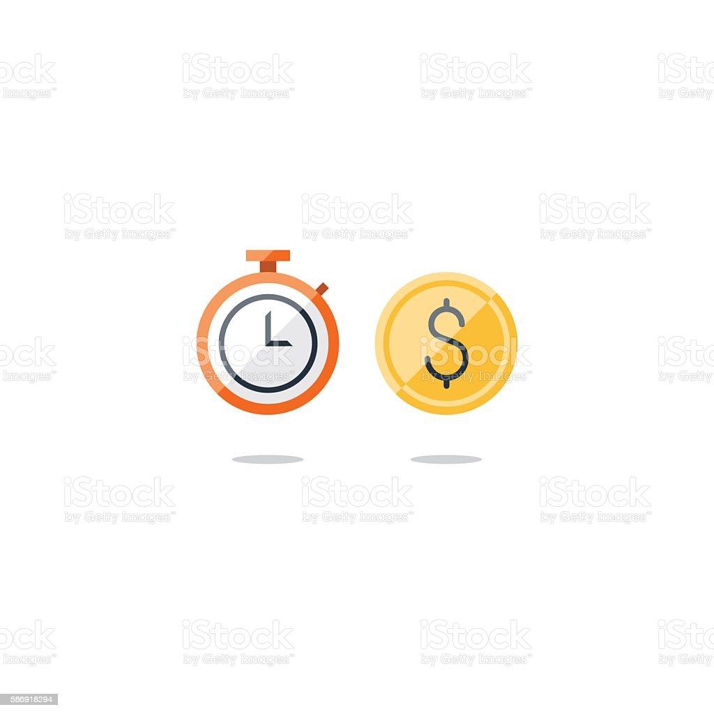 Time is money concept, savings account, cash bask vector art illustration