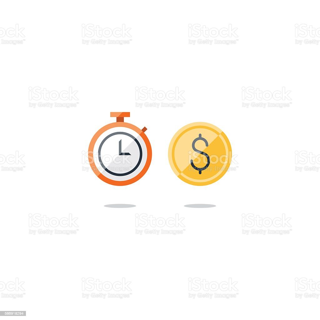 Time is money concept, savings account, cash bask vector art illustration