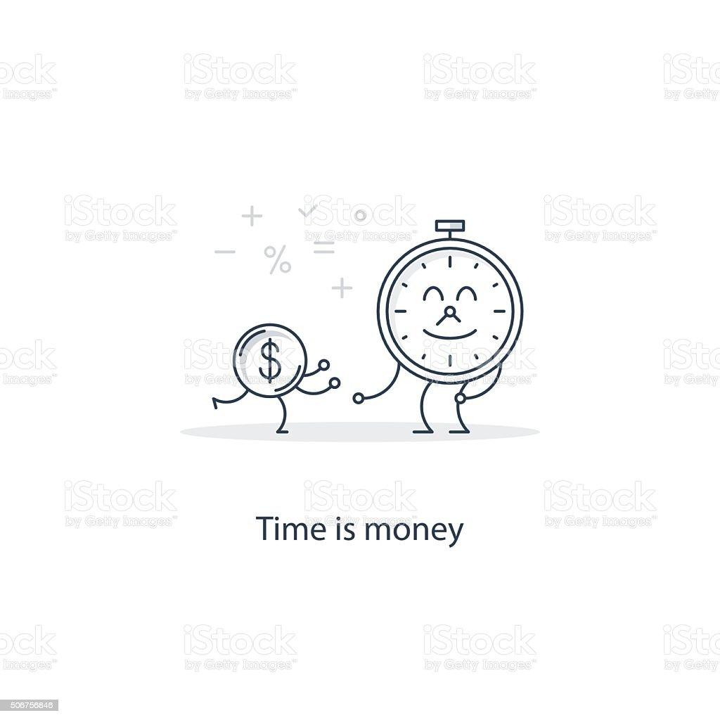 Time is money concept vector art illustration
