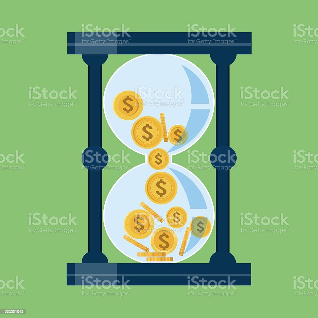 Time is Money .Gold coins in Hourglass Crumble Down vector art illustration